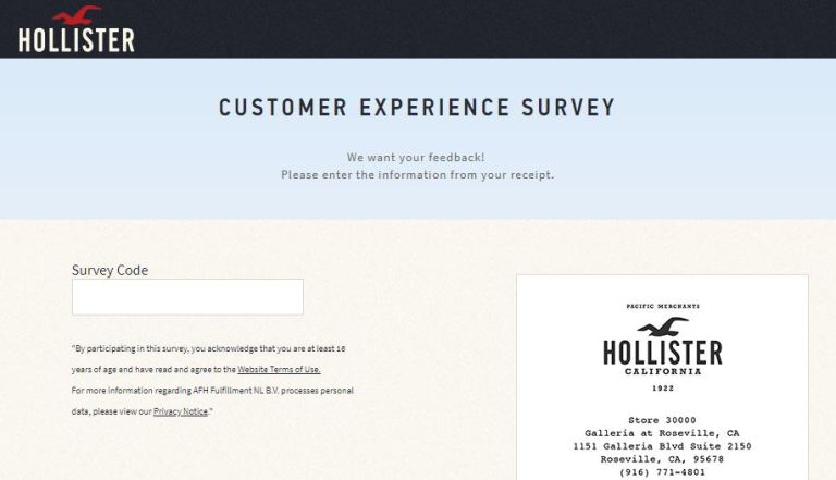 TellHCO Hollister Customer Experience Survey