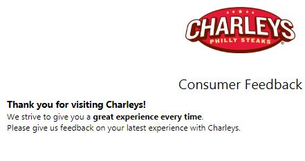 Tell Charleys Feedback Survey