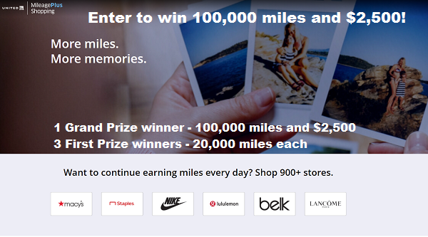 United Airlines MileagePlus Shopping Sweepstakes