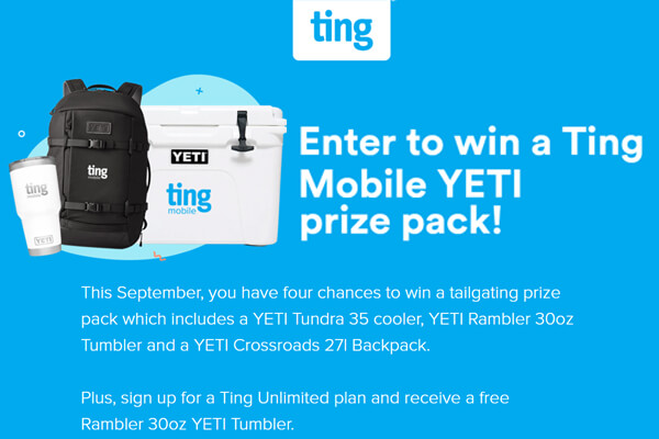 Ting Mobile YETI Prize Pack Giveaway